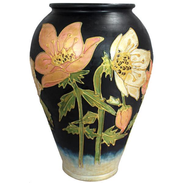 گلدان سفالی دست نگار طرح زنبق