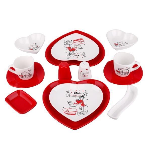 سرویس صبحانه خوری 14 پارچه مدل قلب