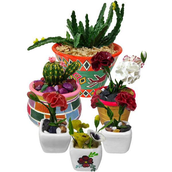 گلدان به همراه گل مصنوعی کد 8812 مجموعه 6 عددی
